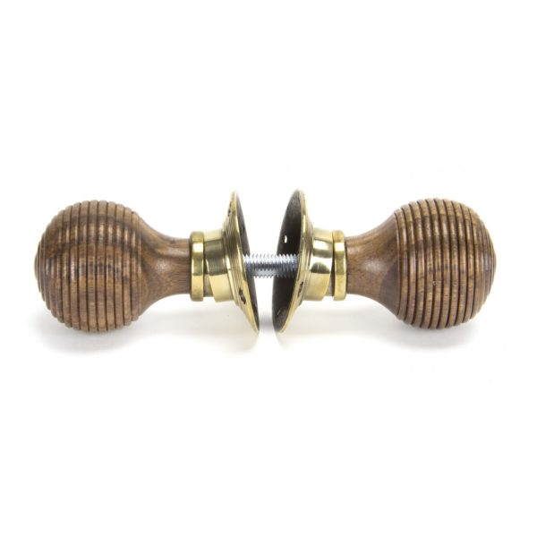Rosewood Mortice_Rim Beehive Knob Set – Antique Brass Roses Side View Home Refresh 2020