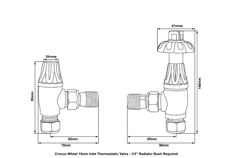 Crocus Wheel 15mm Inlet Thermostatic Valve (Black Nickel) Drawing Carron_Home Refresh