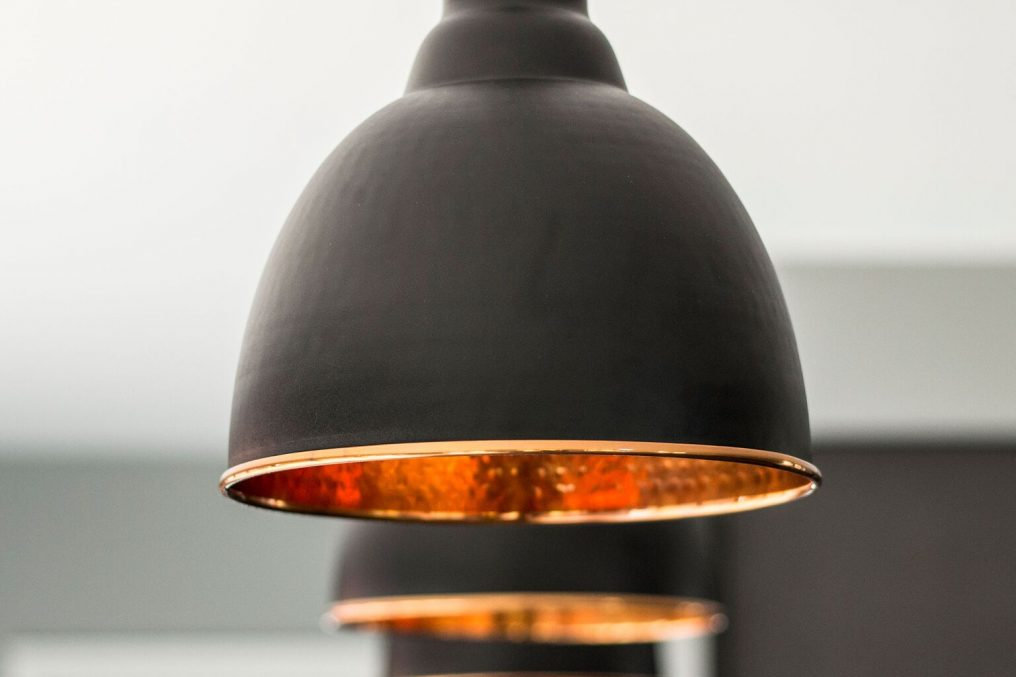 Black & Hammered Copper Brindley Pendant interior