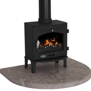 Travertine Curved Stove Hearth Carron 1